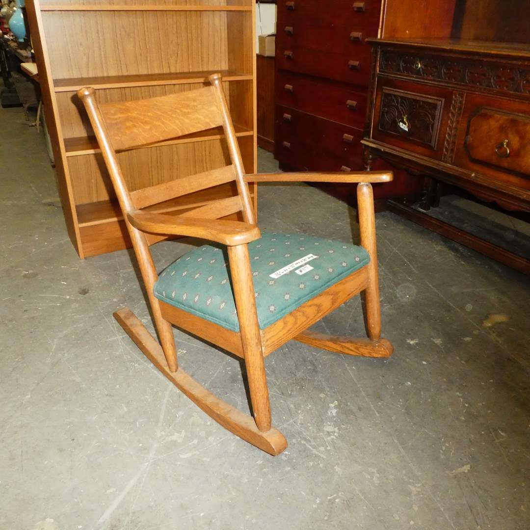 Lot # 117 - Antique Wooden Rocking Chair w/ Cushion Seat (main image)