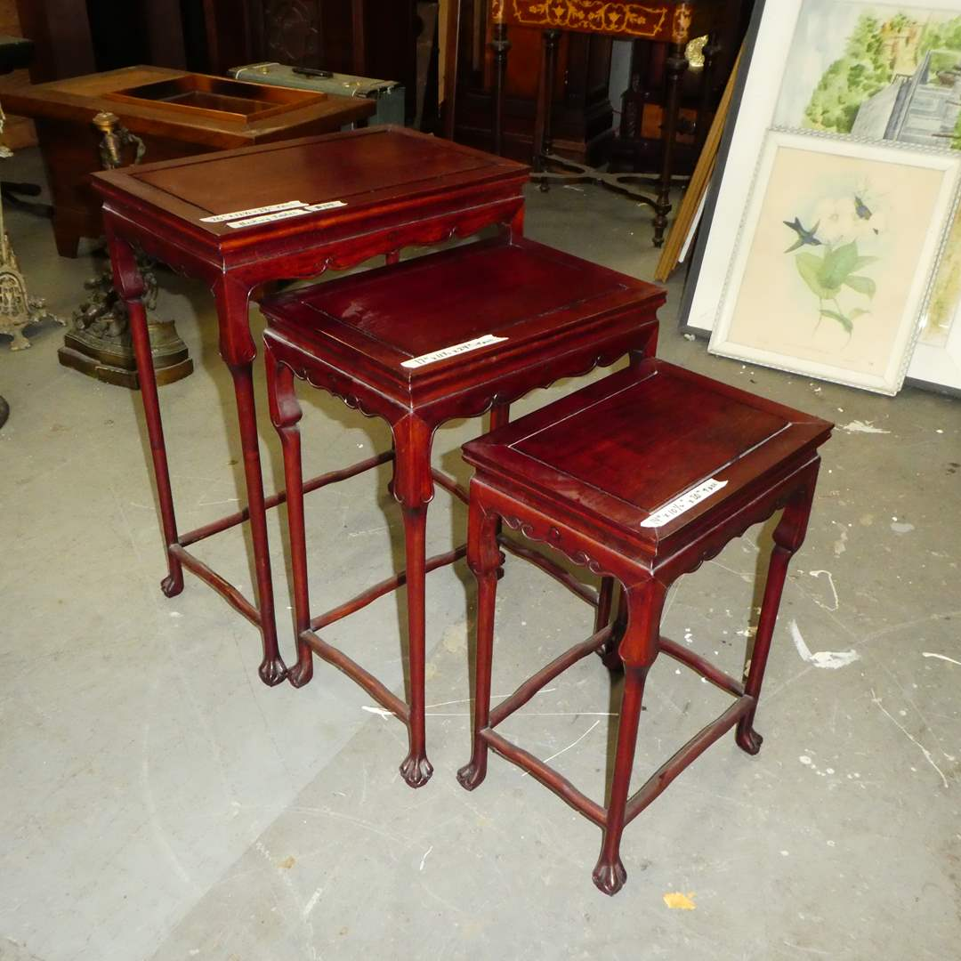 Lot # 119 - Vintage Chinese Nesting Tables w/ Paw Feet (main image)