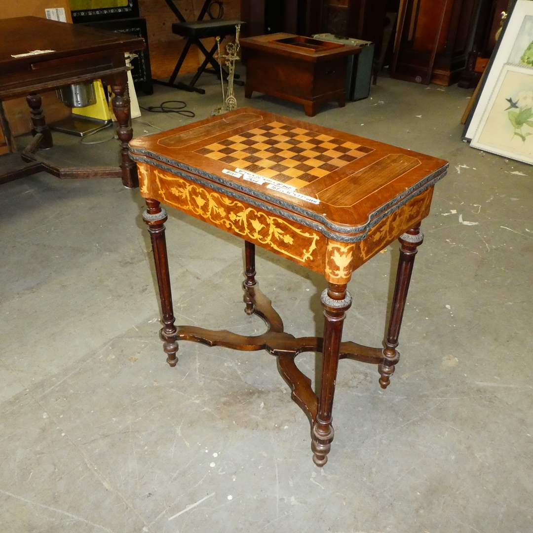 Lot # 121 - Unique Vintage Revisable Multi Gaming Table w/ Wood & Leather Inlay (main image)