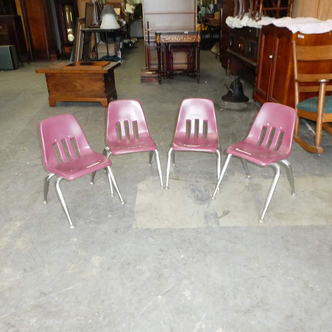 Lot # 123 - 4 Classic Virco Childs Desk Chairs (main image)