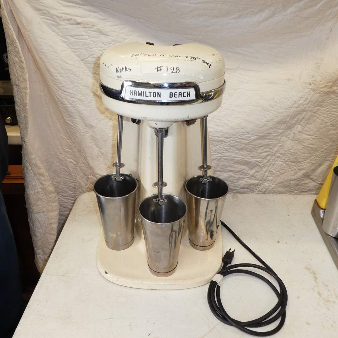Lot # 128 - Vintage Hamilton Beach 3-Head Malt Milkshake Mixer--Model 940-- Classic Almond Color (main image)