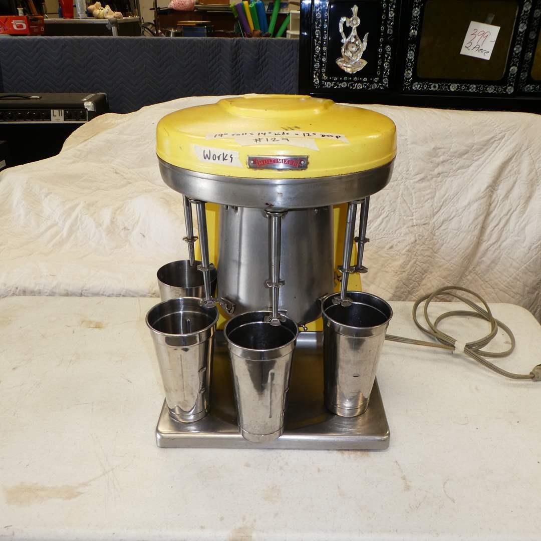 Lot # 129 - Price Castle Yellow 5-Head Malt Milkshake Multimixer--Model 9B--w/ 5 Stainless Cups (main image)
