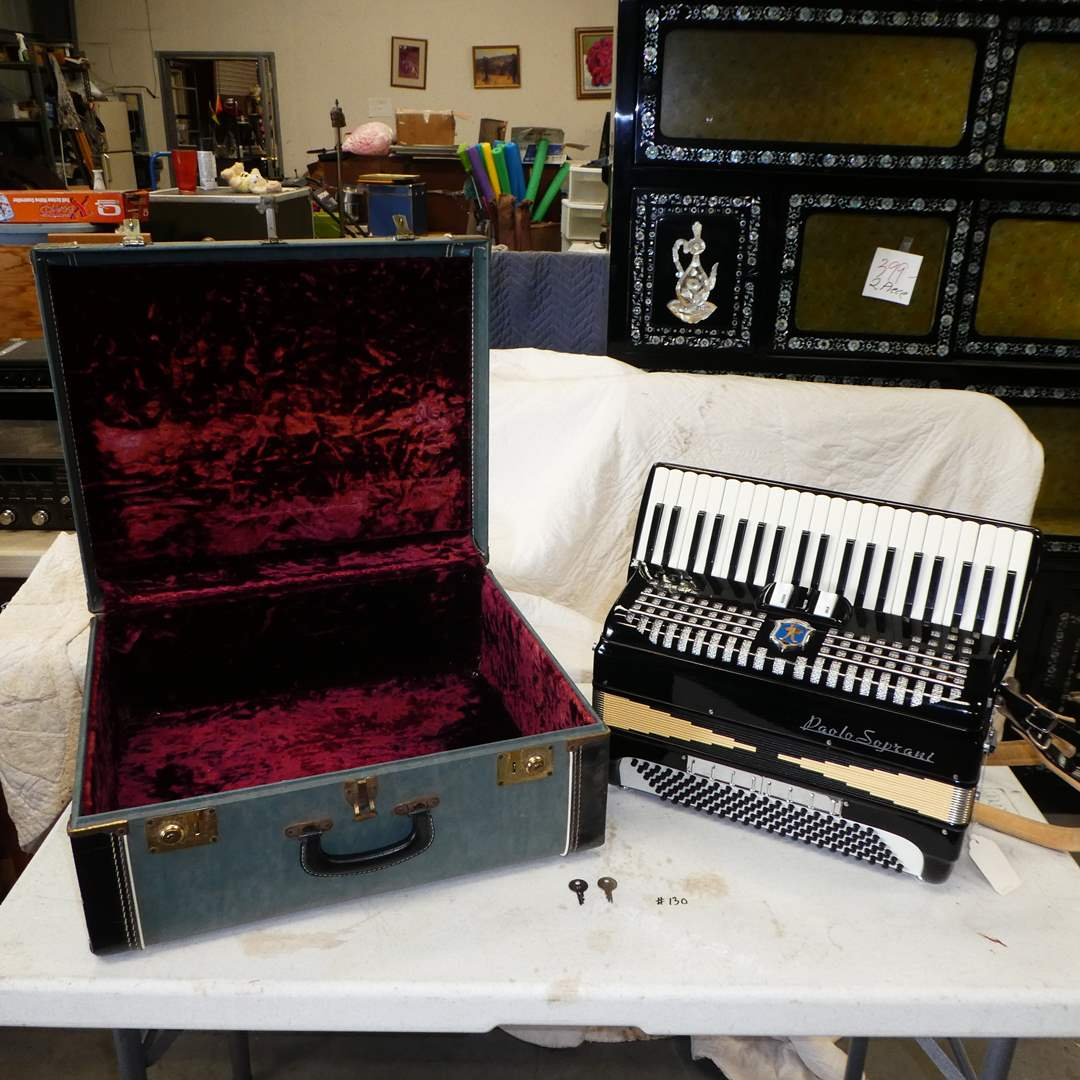 Lot # 130 - Beautiful Paolo Soprani Accordion--Made in Italy-- w/ Vintage Velvet Lined Case (main image)