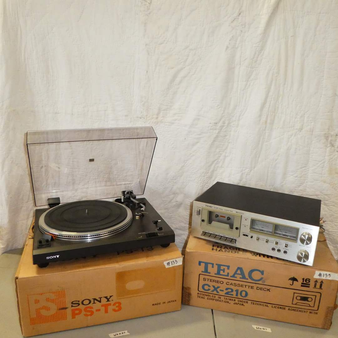 Lot # 133 - Teac Stereo Cassette Deck (CX-210) & Sony Stereo Turntable System (PS-T3) (main image)