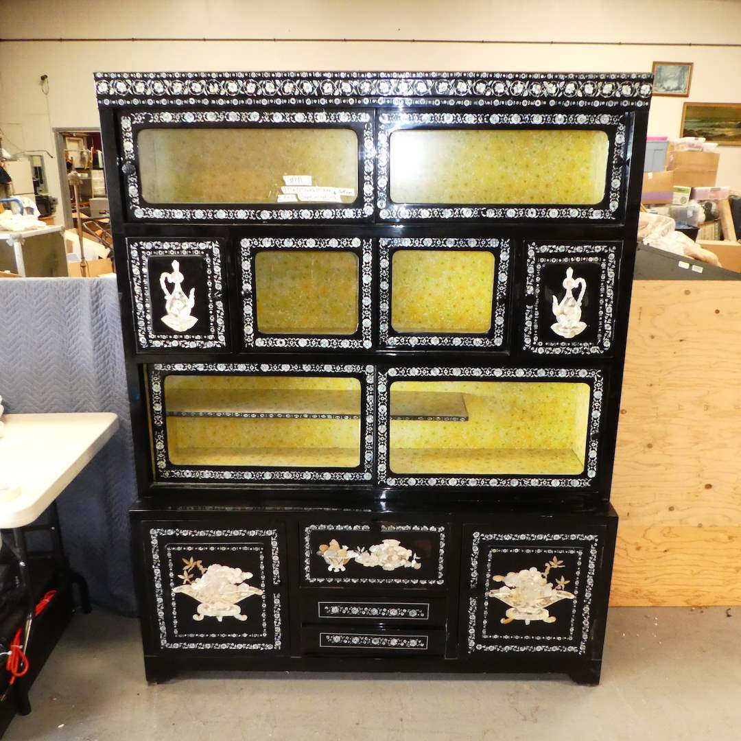 Lot # 141-Vintage Oriental Black Lacquered Mother Of Pearl Inlay China Cabinet (2 PCS) (main image)