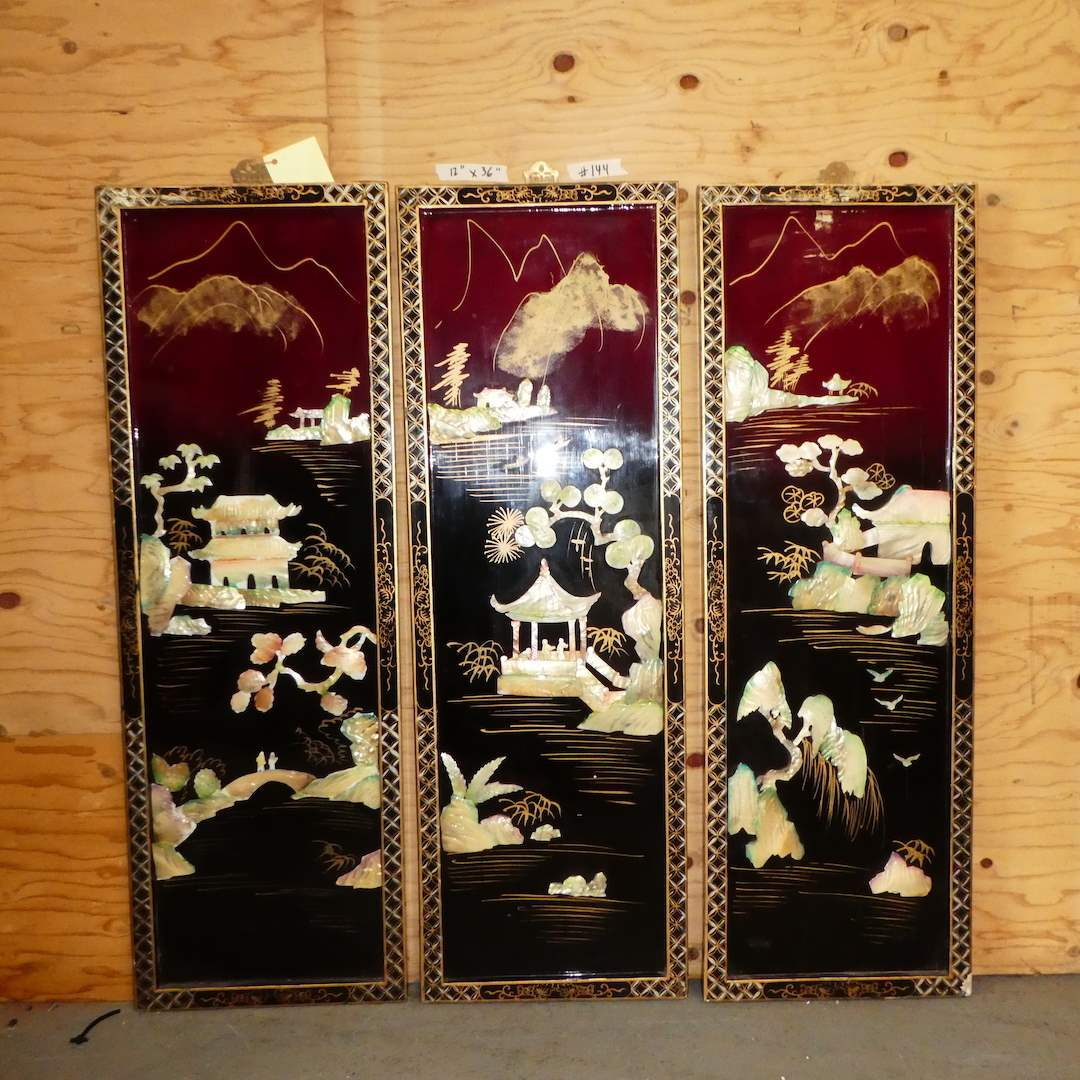 Lot # 144 - 3 Piece Oriental Hand Painted & Shell Art (main image)