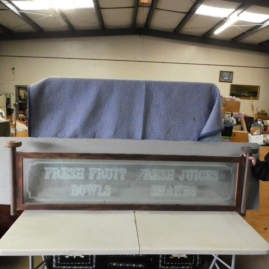Lot # 147 - Large Vintage Etched Glass Sign w/ Wood Frame (Fresh Fruit, Fresh Juice, Bowls, Shakes) (main image)