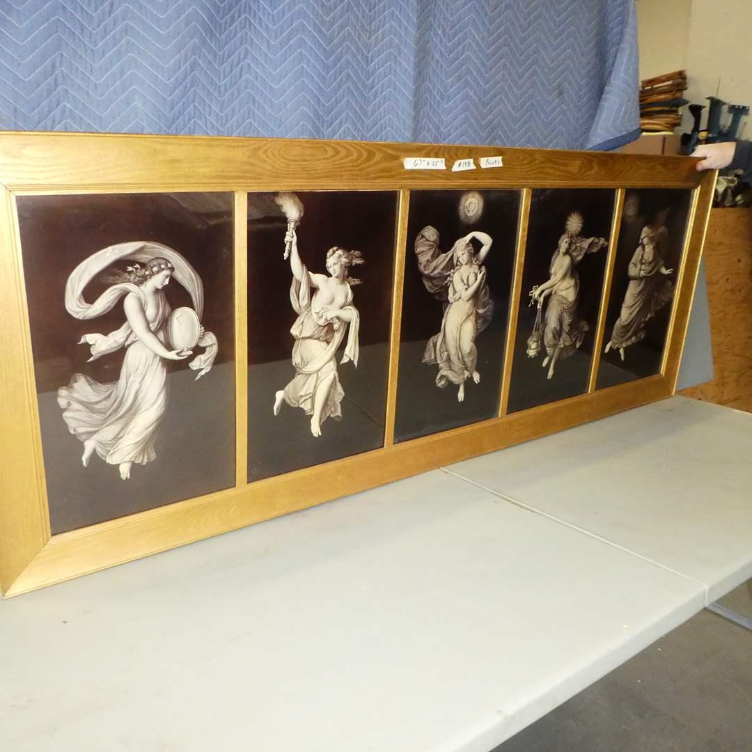 "Lot # 148 - Huge 67"" Framed Antique Five Panel Classical Print (main image)"