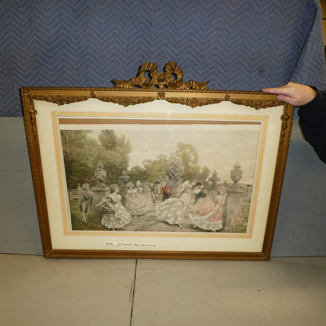 """Lot # 152 - Framed """"Playing Tag In Garden"""" Hand Colored Lithograph (main image)"""