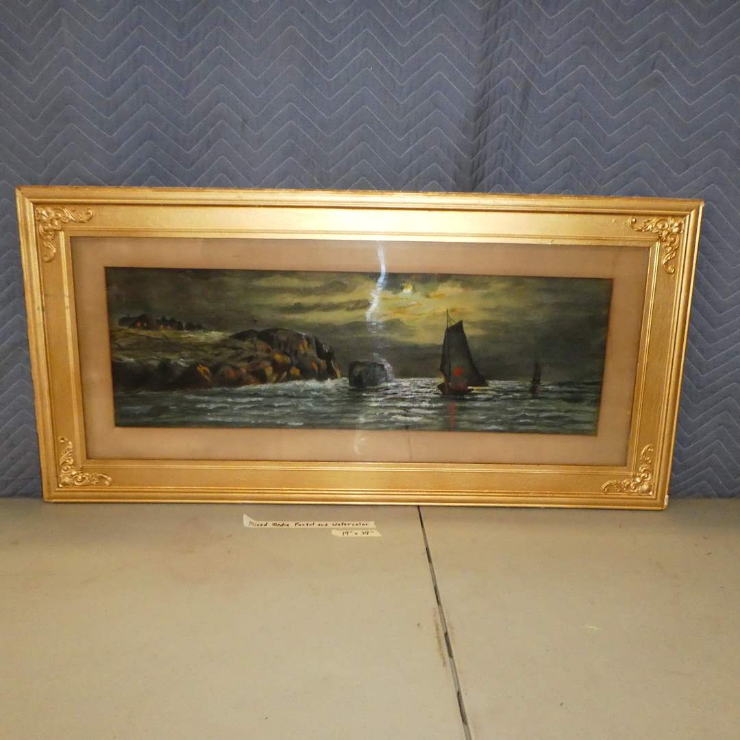 Lot # 155 -  Original Framed Mixed Media Watercolor & Pastel Ship Art (main image)