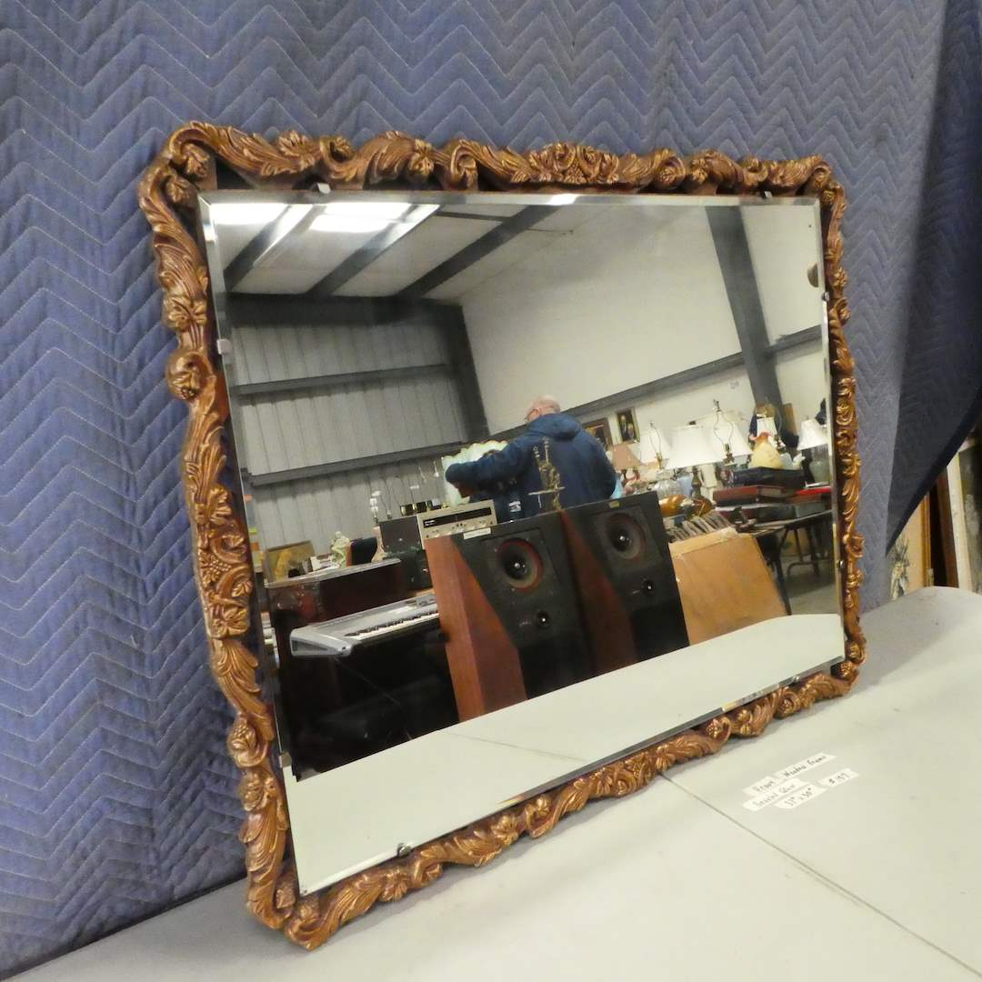Lot # 157 - Beautiful Antique Wood Framed Beveled Mirror (main image)