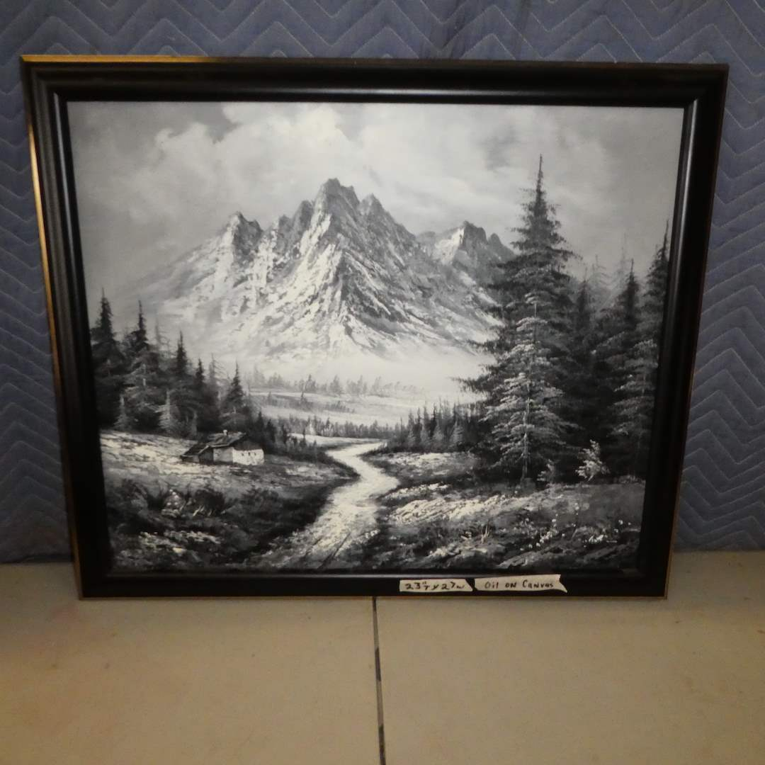 Lot # 159 - Framed Beautiful Mountain Scene Oil on Canvas (main image)