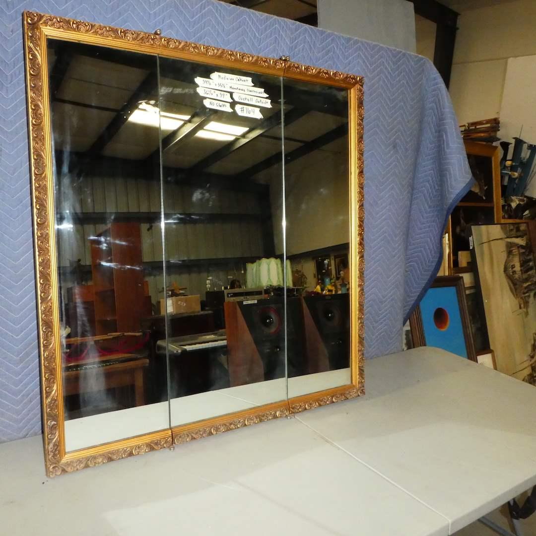 Lot # 164 - Large Gold Framed 3 Door Medicine Cabinet ( 10 Misc Sized Glass Shelves) (main image)