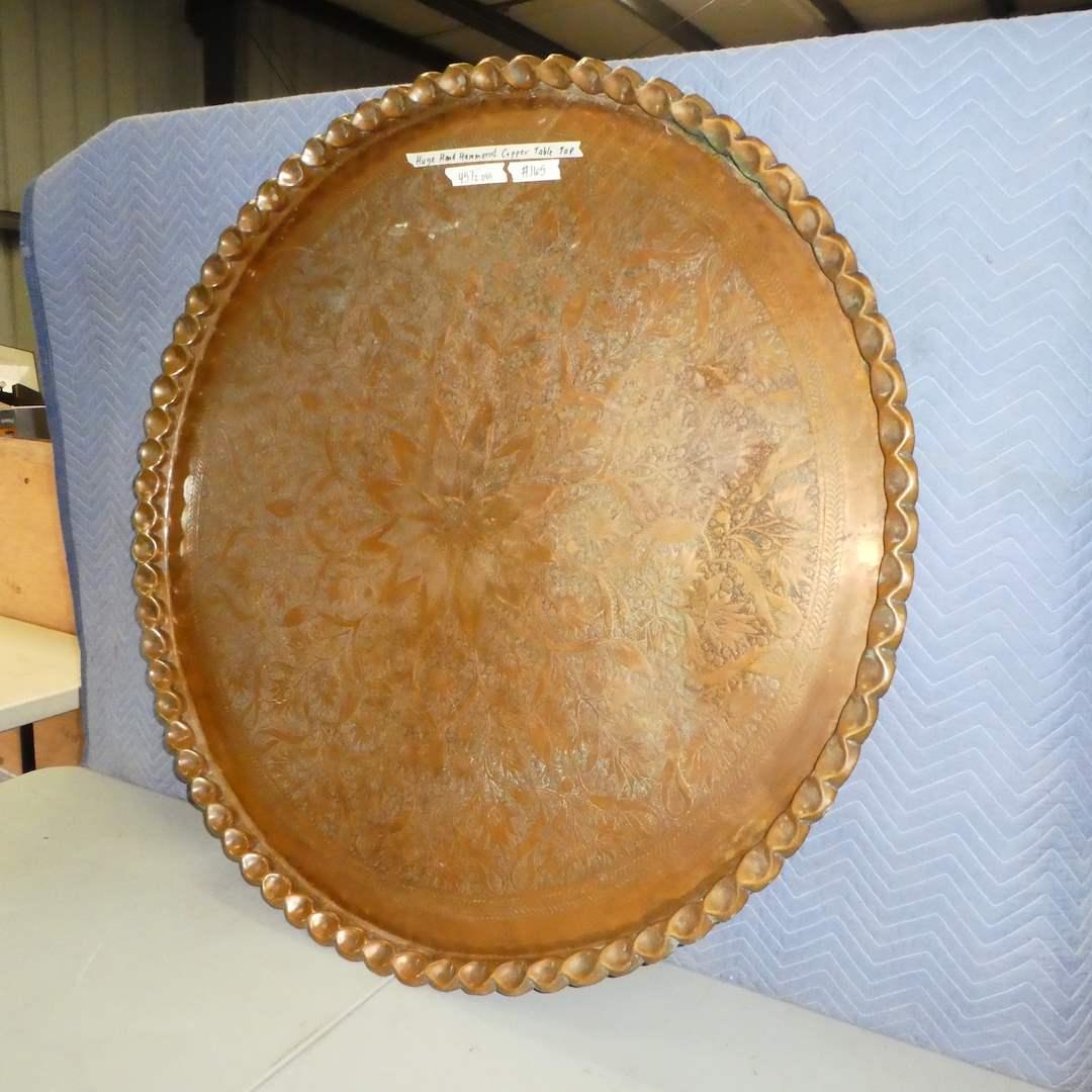 Lot # 165 - Huge Hand Hammered Moorish Copper Table Top (main image)
