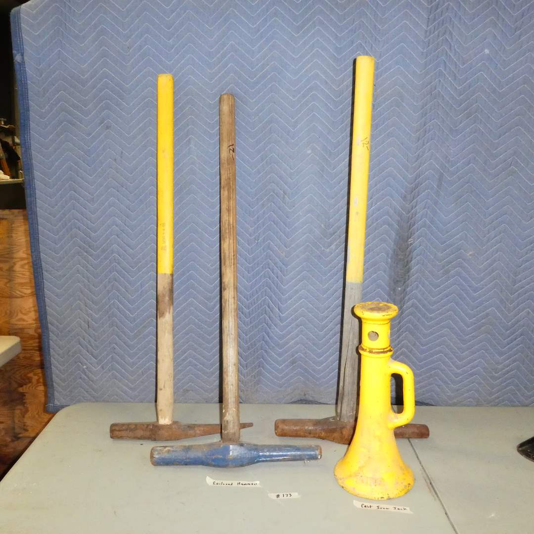 Lot # 173 - Railroad Hammers and Cast Iron Jack (main image)