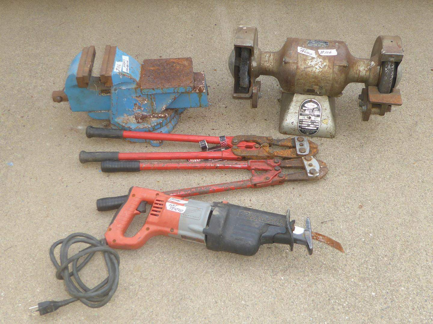 Lot # 106 - Sawzall, Bolt Cutters, Bench Vise & Grinder (main image)