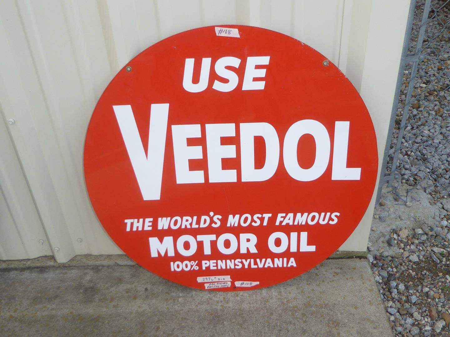 """Lot # 108 - Large Round Double Sided Painted Metal """"Use Veedol"""" Motor Oil Advertising Sign (main image)"""