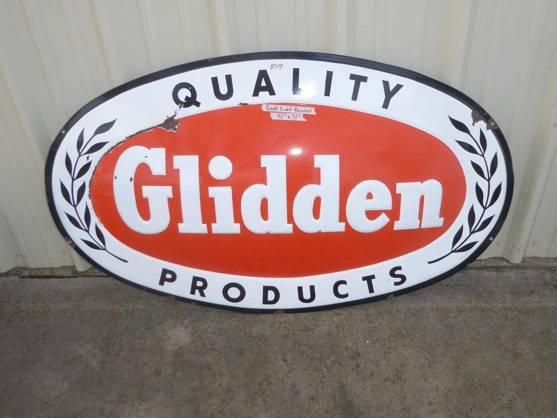"Lot # 109 - Vintage ""Quality Glidden Products"" Single Sided Porcelain Enameled Advertising Sign (main image)"