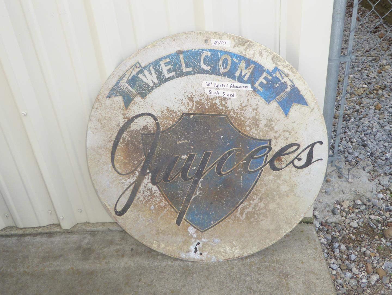 "Lot # 110 - Vintage ""Jaycees"" Painted Aluminum Single Sided Advertising Sign (main image)"