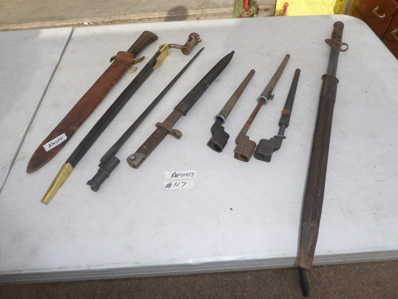 Lot # 117 - Vintage Knife w/Sheath & Bayonets (main image)