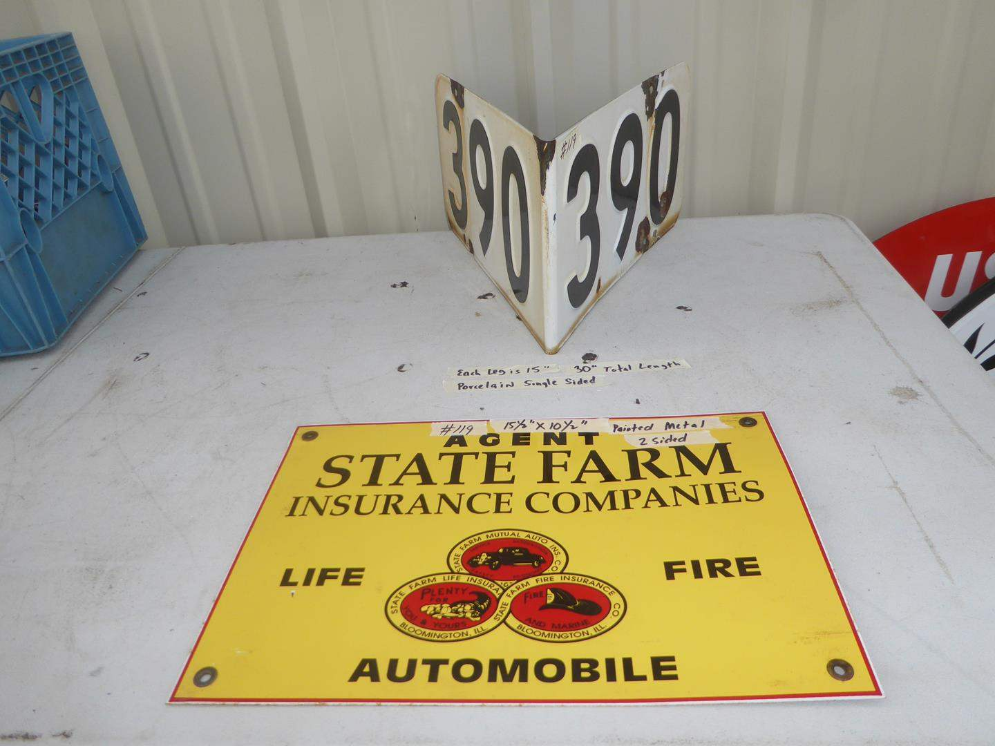 Lot # 119 - State Farm Insurance Companies Advertising Painted Metal Sign & Vintage Porcelain Enameled Street Sign (main image)