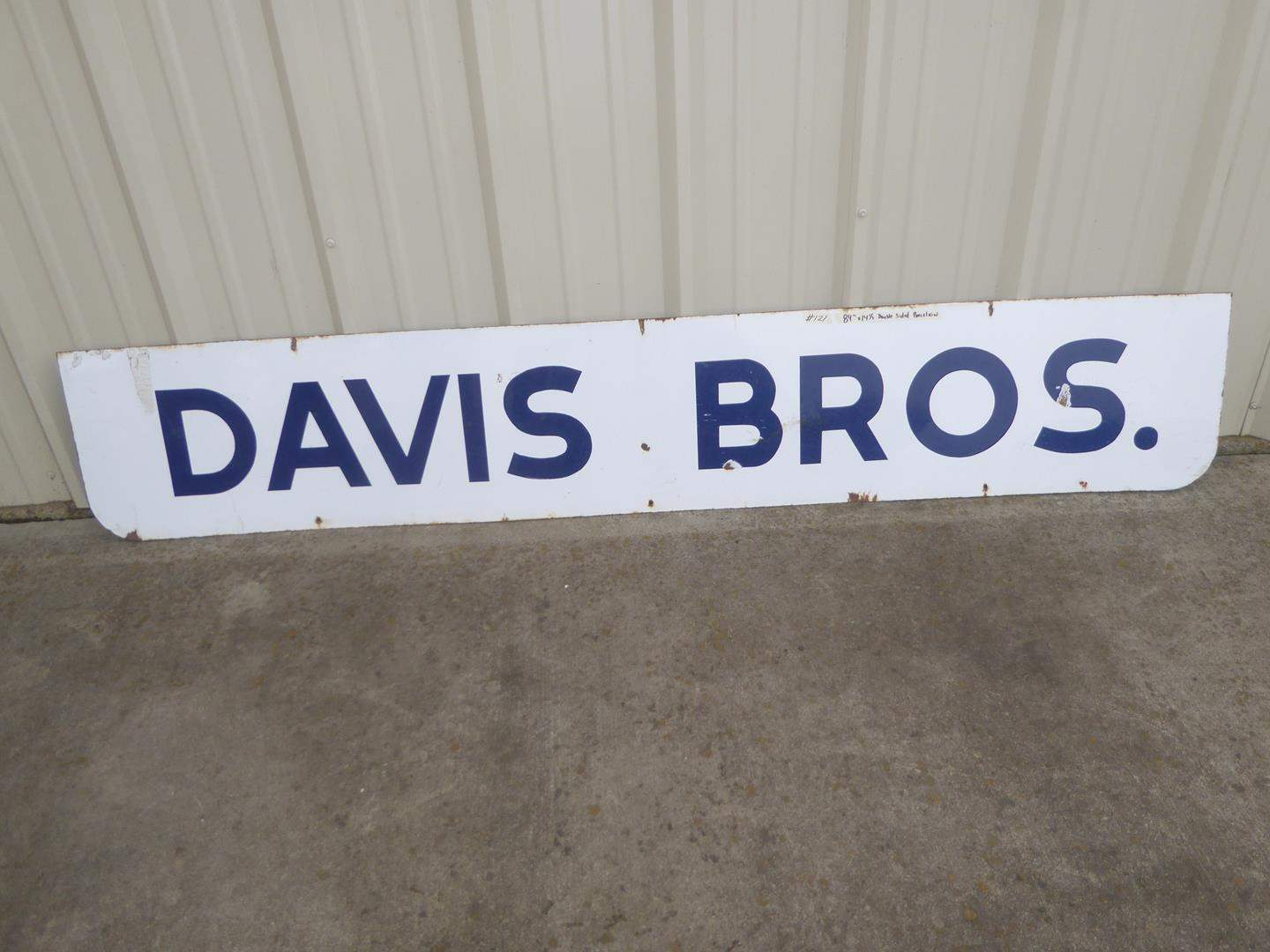 "Lot # 121 - Large Vintage ""Davis Bros."" Double Sided Porcelain Enameled Sign (main image)"
