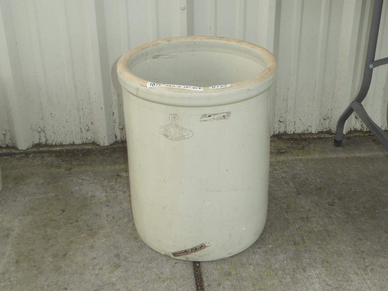 "Lot # 122 - Vintage ""Pacific"" Los Angeles 12 Gallon Stoneware Crock (main image)"