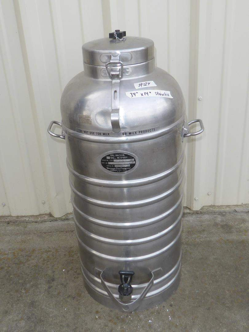 Lot # 124 - 10 Gallon Military Grade Stainless Steel Vacuum Jug Dispenser Spigot by Vacuum Can Company (main image)