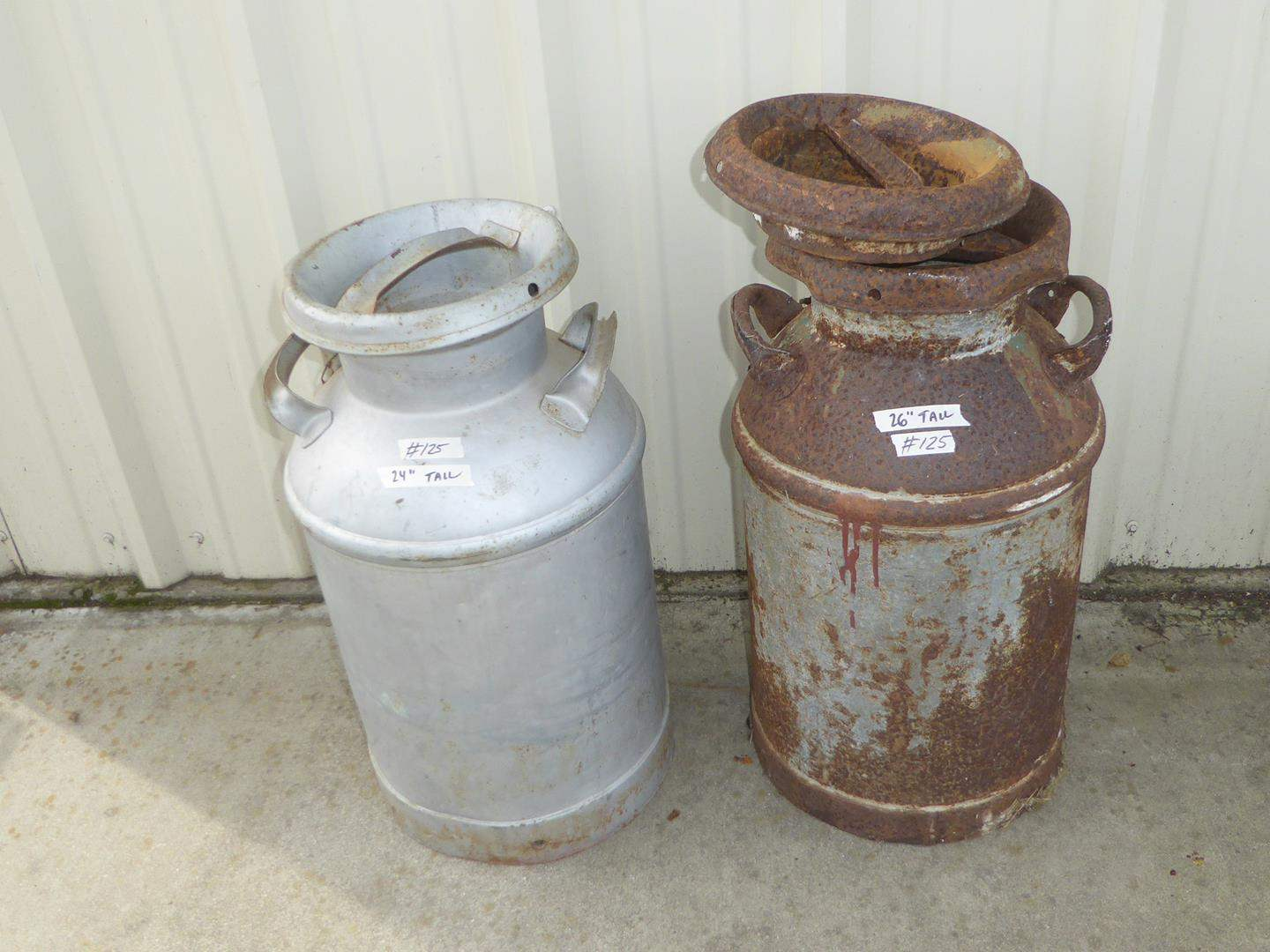 Lot # 125 - Two Old Milk Cans (main image)