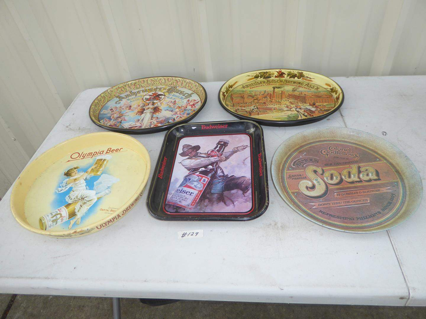 Lot # 129 - Five Vintage Advertising Trays (main image)