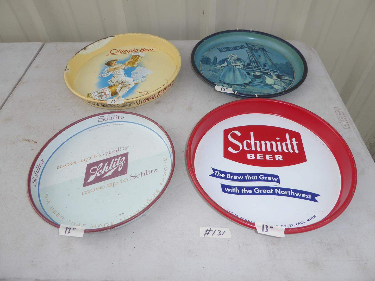 Lot # 131 - Four Vintage Advertising Beer Trays (main image)
