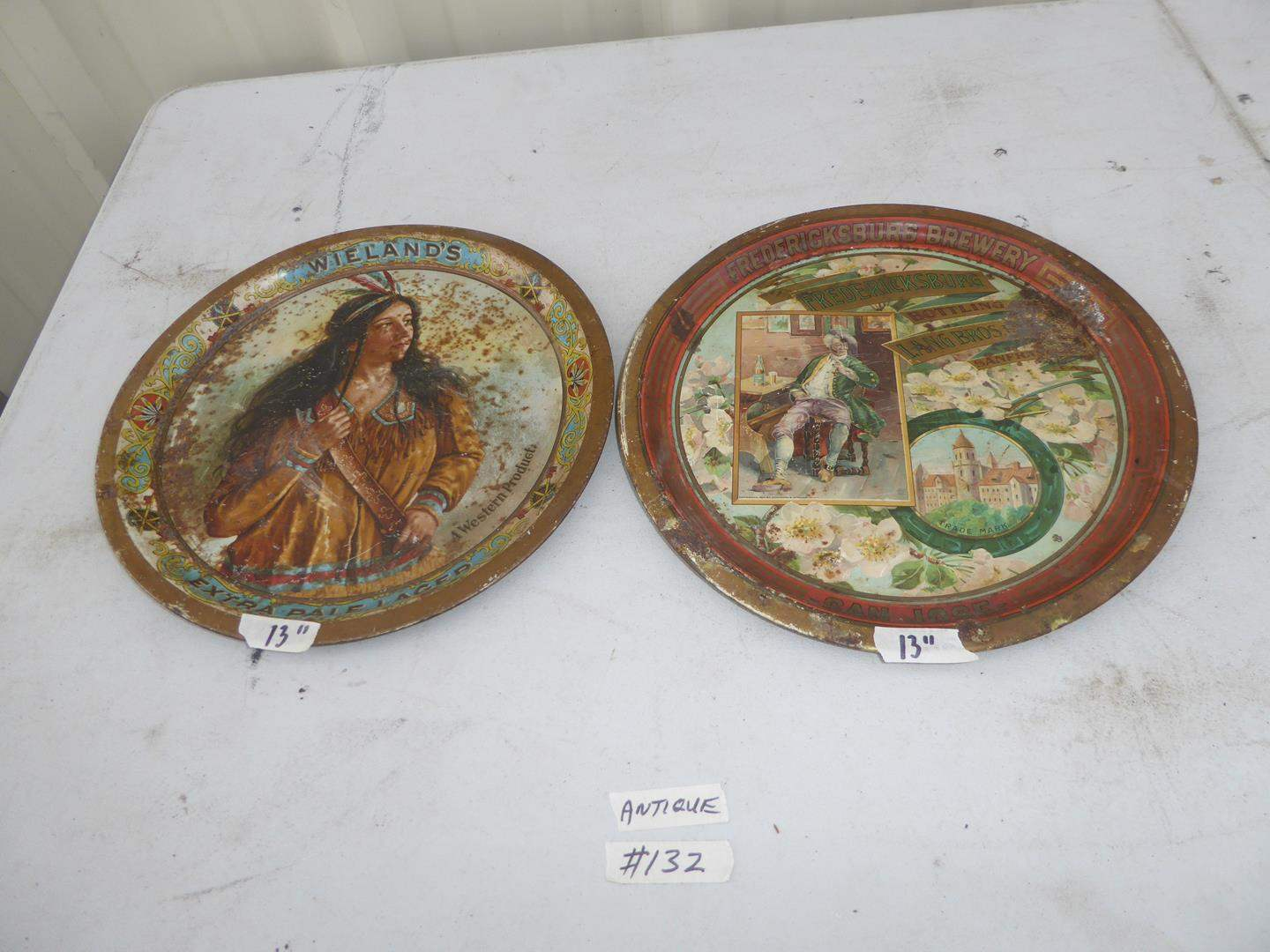Lot # 132 - Antique Weiland's Extra Pale Lager Beer Advertising Tray & Antique Fredericksburg San Jose Advertising Beer Tray (main image)