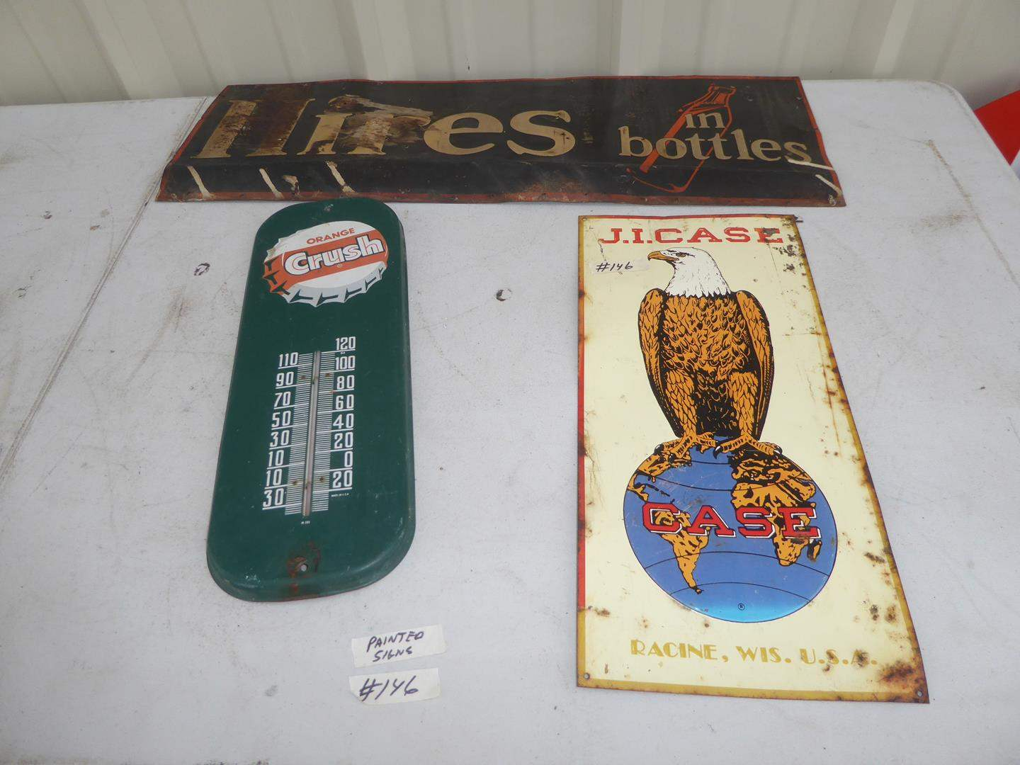 Lot # 146 - Vintage Painted Metal Orange Crush Thermometer & Hires Root Beer Sign, Case sign is a Reproduction (main image)