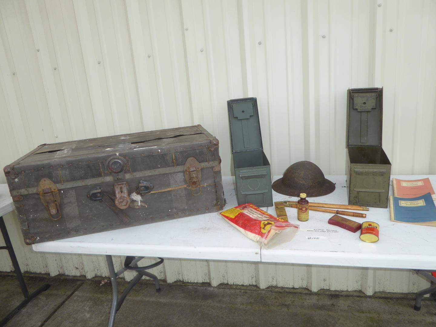 Lot # 148 - Vintage Storage Trunk, Military Helmet, Ammo Cans, Lead & Gun Cleaning Supplies (main image)