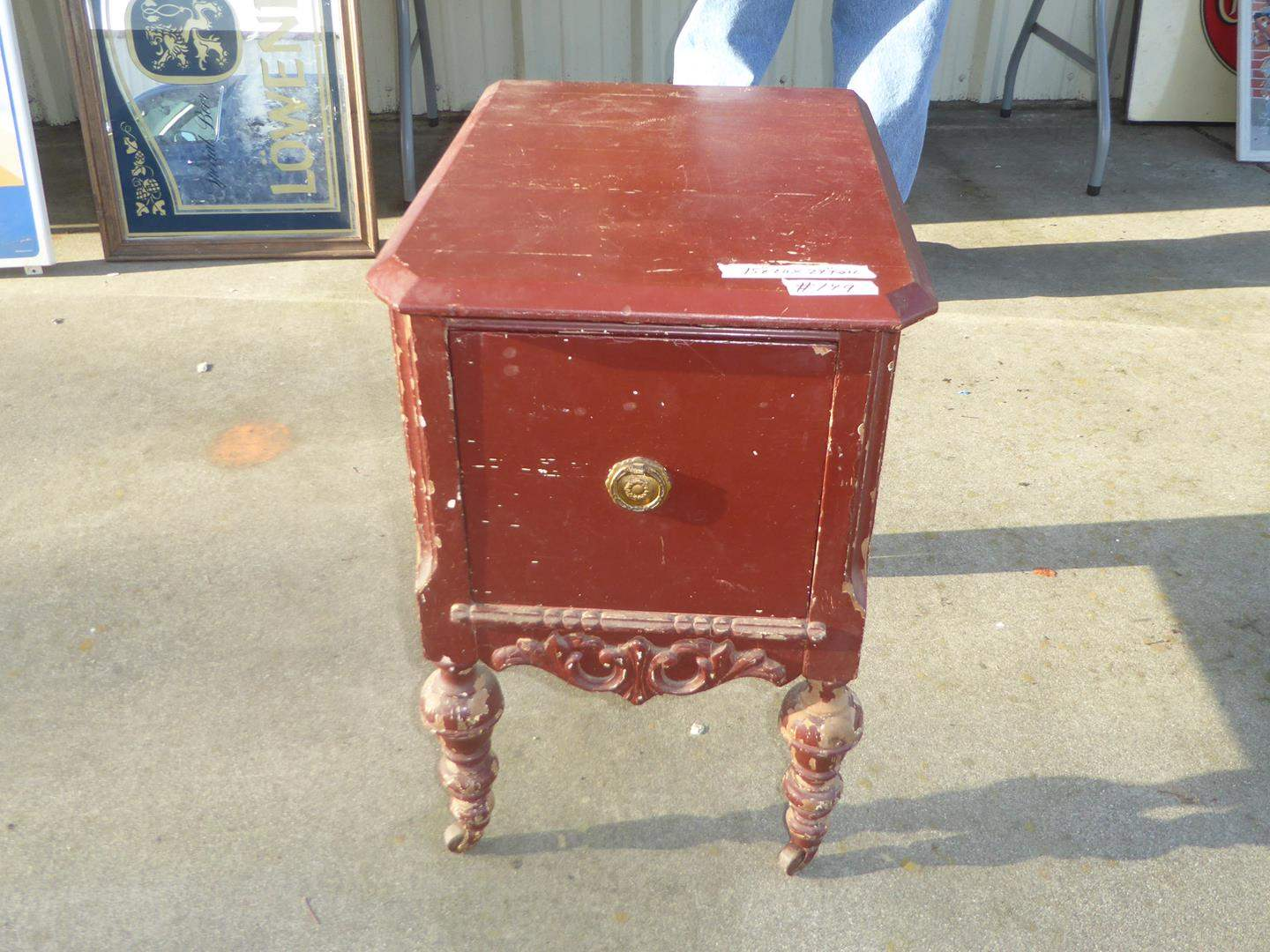 Lot # 149 - Vintage Distressed Wooden Accent Table on Casters w/Drawer (main image)