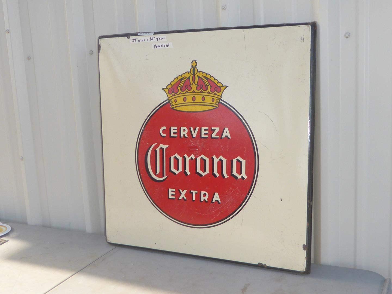 Lot # 151 - Vintage Porcelain Enameled Corona Extra Beer Advertising Sign (main image)