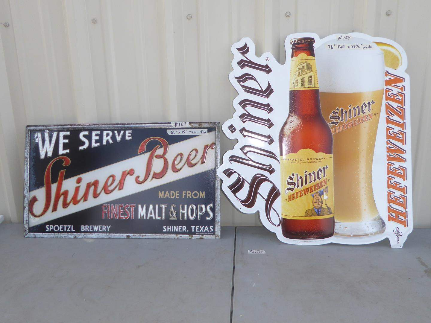 Lot # 154 - Two Shiner Beer Painted Metal Advertising Signs (main image)