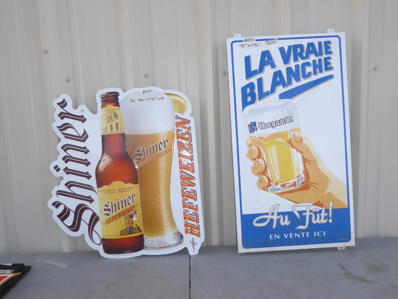 Lot # 155 - Two Painted Metal Beer Advertising Signs (main image)