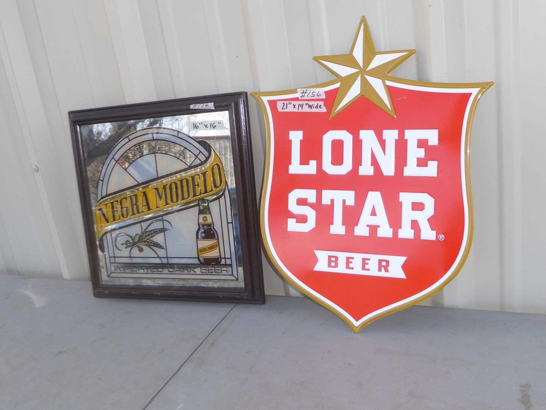 Lot # 156 - Negra Modelo Advertising Beer Mirror & Painted Metal Lone Star Beer Advertising Sign (main image)