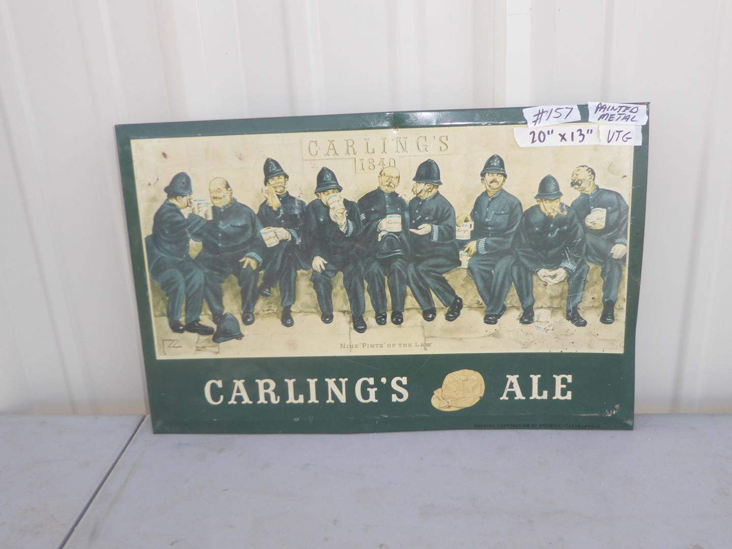 Lot # 157 - Vintage Painted Metal Carling's Ale Sign (main image)