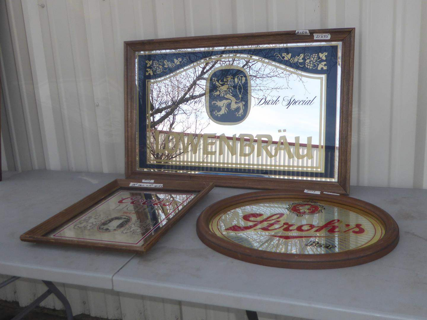 Lot # 159 - Vintage Coors Light, Stroh's & Lowenbrau Beer Advertising Mirrors (main image)