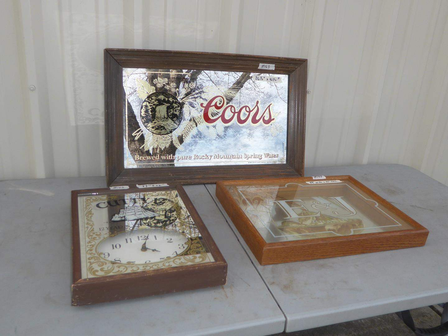 Lot # 163 - Cutty 12 Scotch Whiskey Advertising Clock, E & J Brandy Mirror & Coors Beer Mirror (main image)