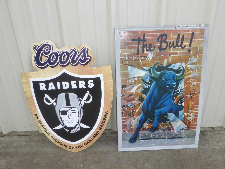 Lot # 164 - Coors Raiders Metal Advertising Sign & The Bull Schlitz Malt Liquor Sign (main image)