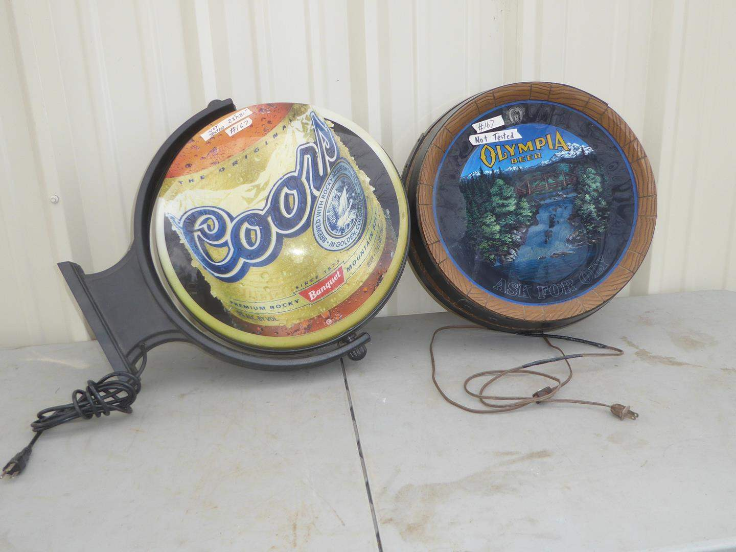 Lot # 167 - Coors Double Sided Rotating Wall Sign & Olympia Ask For Oly Waterfall Barrel Light Up Sign (main image)