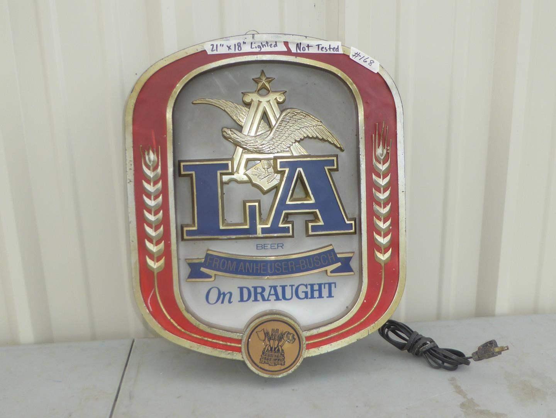 Lot # 168 - Vintage LA On Draught From Anheuser-Busch Bar Light Up Sign (main image)