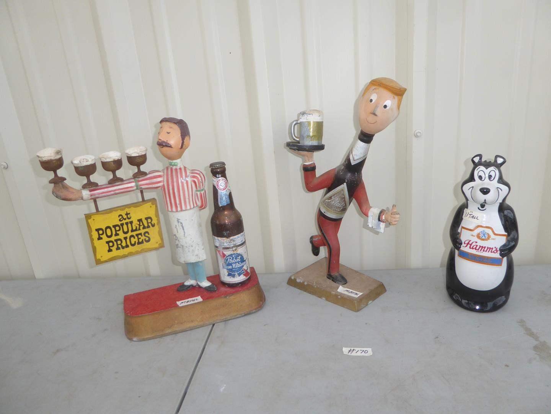 Lot # 170 - Vintage Metal Pabst Blue Ribbon Joe Waiter Bartender Figure, Blatz Metal Bartender Figure &  Hamm's Bear (main image)