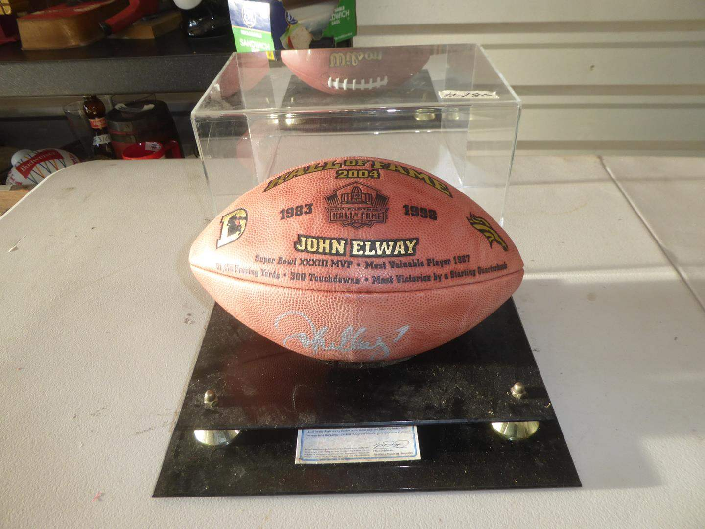 Lot # 180 - Vintage Hall of Fame Autographed Numbered John Elway Football Memorabilia in Case w/Certificate of Authenticity (main image)