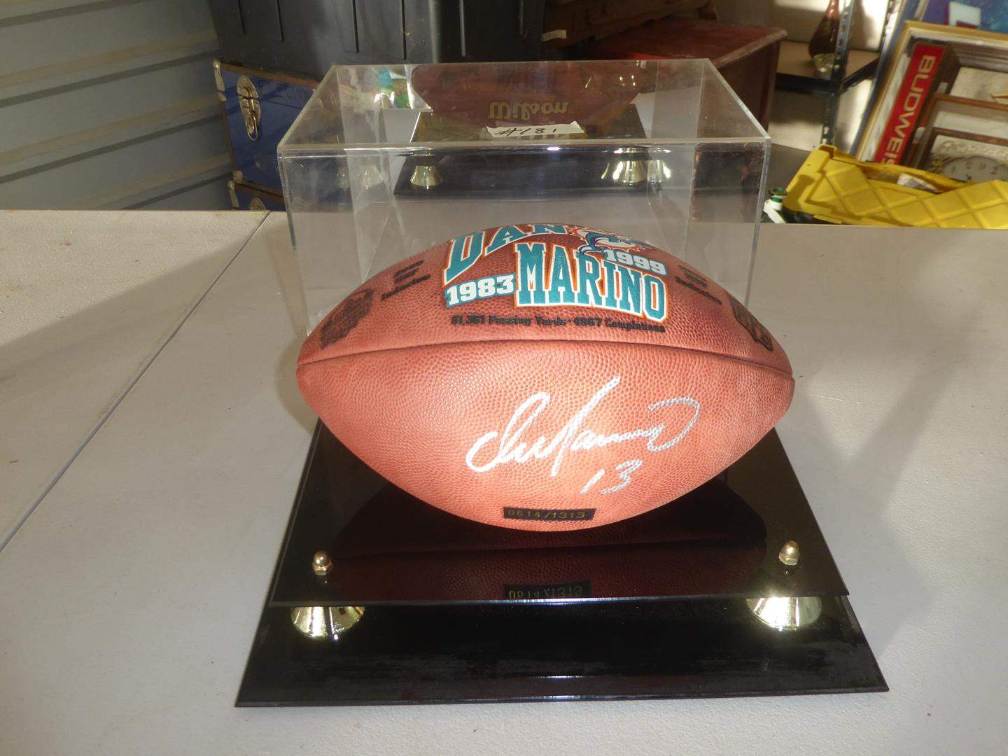 Lot # 181 - Vintage Autographed Numbered Dan Marino Football Memorabilia in Case w/Certificate of Authenticity (main image)