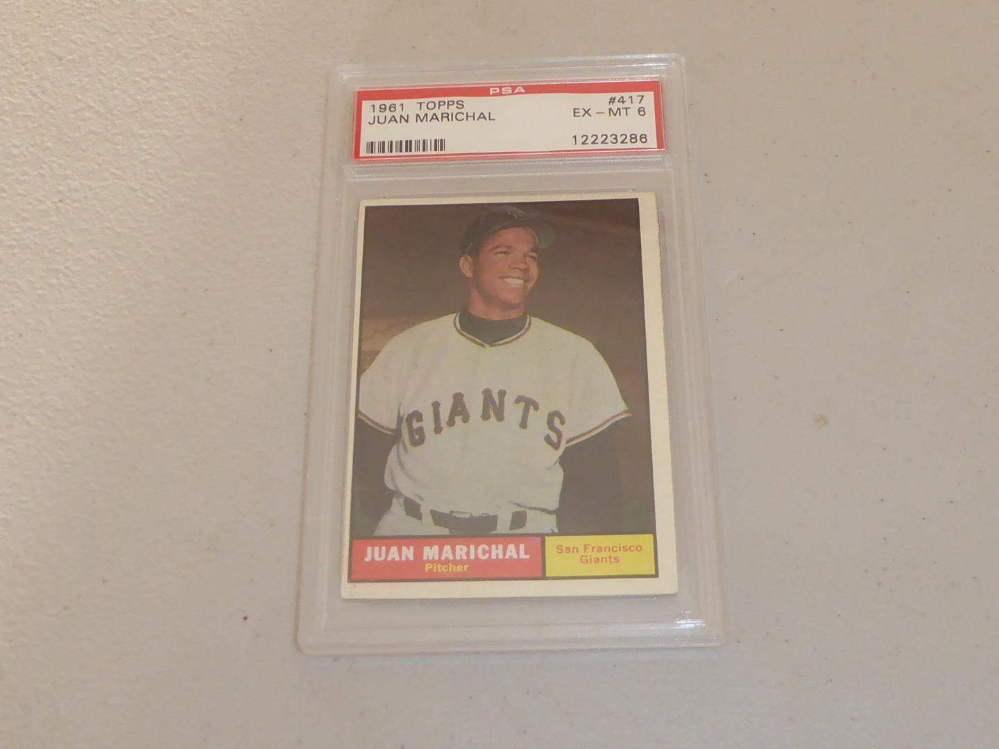 Lot # 183 - 1961 Topps Juan Marichal Baseball Card Graded EX - MT 6 (main image)