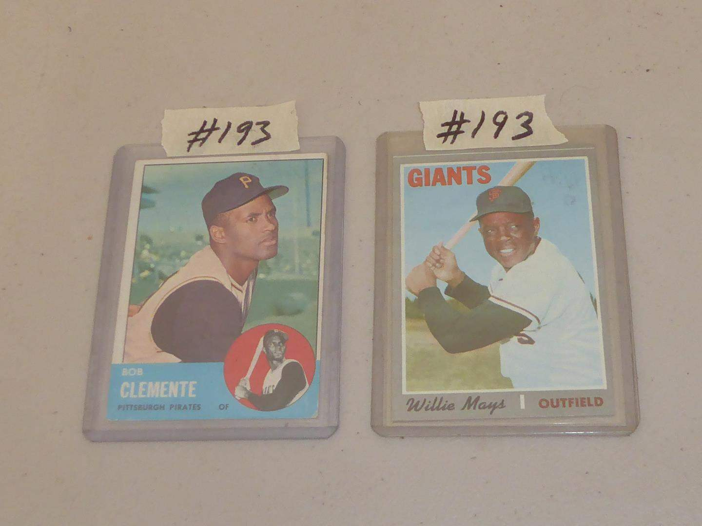 Lot # 193 - Two Topps Baseball Cards Bob Clemente & Willie Mays (main image)